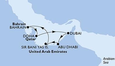 We vertrekken op 18 januari 2020 met het vliegtuig naar Dubai. Daar gaan we aan boord van de MSC Bellissima. We varen achtereenvolgens naar Abu Dhabi, Sir Bani Yas Island, Bahrein, Doha in Qatar en van daaruit terug naar Dubai, van waaruit we het vliegtuig naar huis nemen.