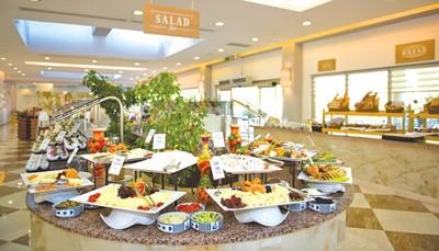 """<div style=""""text-align: justify;"""">Het Family Life Tropical Resort biedt verschillende buffet- en à la carte restaurants en (snack)bars. In het hoofdrestaurant kan steeds buffetmaaltijden vinden. Voor kinderen is er een speciaal buffet voorzien. Verder kan je terecht in een van de drie à la carte restaurants. Hier kan je genieten van Turkse, Oosterse of Italiaanse specialiteiten. Restaurant 'Green&Grill' schotelt je dan weer heerlijke gerechten van de grill voor. Overdag kan je terecht in de bar aan het zwembad of aan het strand. Opgelet: heren dienen 's avonds een lange broek te dragen voor het diner.</div>"""