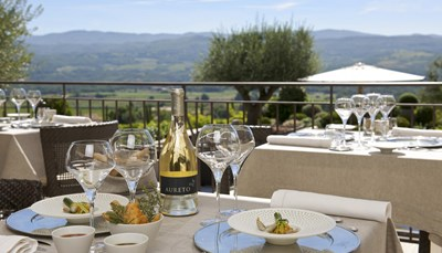 <p>Je verblijft op basis van kamer en ontbijt. Je geniet &rsquo;s morgens van een ontbijtbuffet, op het terras bij mooi weer.<br /> In het gastronomisch restaurant &lsquo;Le Gourmet&rsquo; (open iedere avond van dinsdag t/m zaterdag) brengt de chef creatieve gerechten met een Provençaalse touch, vergezeld van de allerbeste wijnen, bij mooi weer op het terras. &lsquo;Le Jardin dans les Vignes&rsquo;, te midden van de wijngaarden (open in juli en augustus), en &#39;Le Bistrot&#39; bieden lichte gerechten en grillades in een prachtig decor. &#39;Il Ristorante&#39; (doorlopend open), vlakbij het zwembad, verwent de gasten met zowel lichte als&nbsp;typisch Italiaanse gerechten zoals pizza&#39;s.</p>