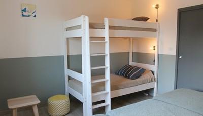 """<div style=""""text-align: justify;"""">In het huis kun je logeren met maximum tien personen. Er zijn drie slaapkamers en drie badkamers met douche. Er zijn twee slaapkamers met dubbel bed, en de derde slaapkamer heeft drie enkele bedden en een stapelbed voor kinderen. In de woonkamer kan eventueel nog iemand op de slaapbank slapen.</div>"""